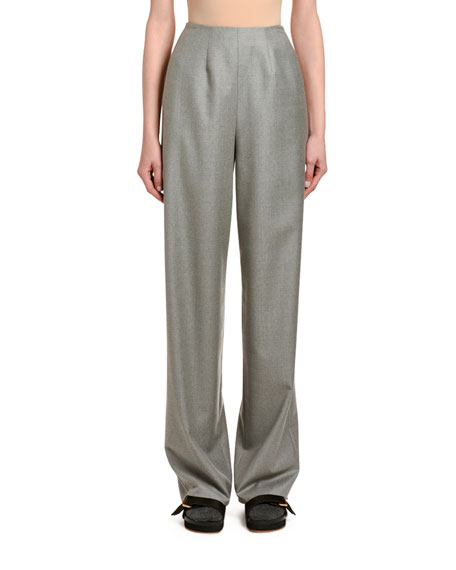 Agnona Wool-cashmere Clean-front Wide-leg Pants In Charcoal