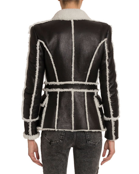 Balmain Leather 6-Button Shearling-Lined Jacket