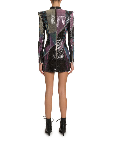 Balmain Long-Sleeve Sequined Mini Dress