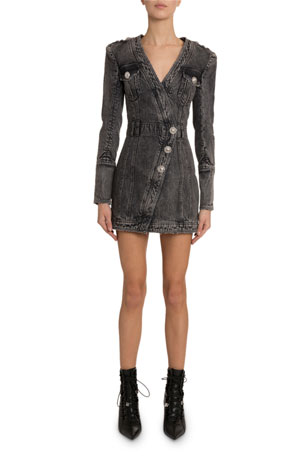 Balmain Wrapped Denim Mini Dress