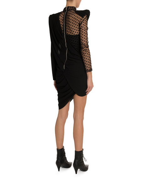 Balmain Asymmetric Draped Swiss-Dotted Dress