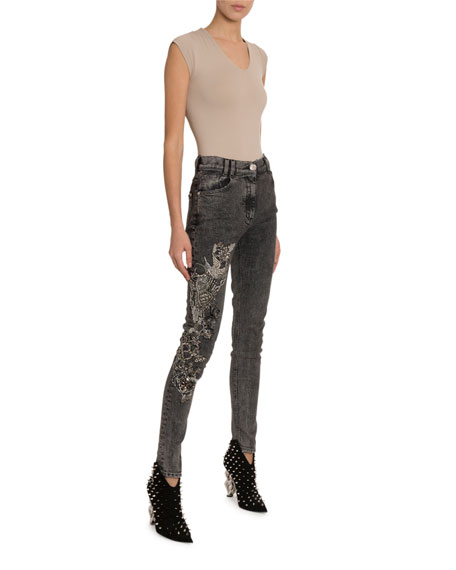 Balmain Crystal-Embroidered Skinny Jeans