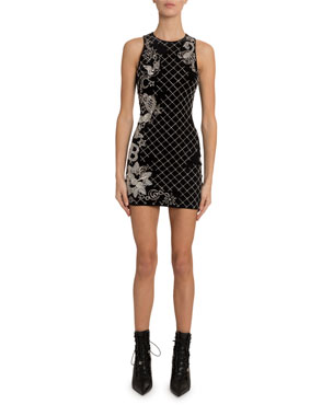 62e94f9188 Balmain Crystal Net Embellished Mini Dress