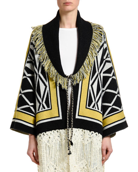 Alanui Ravenstail Knitted Coat
