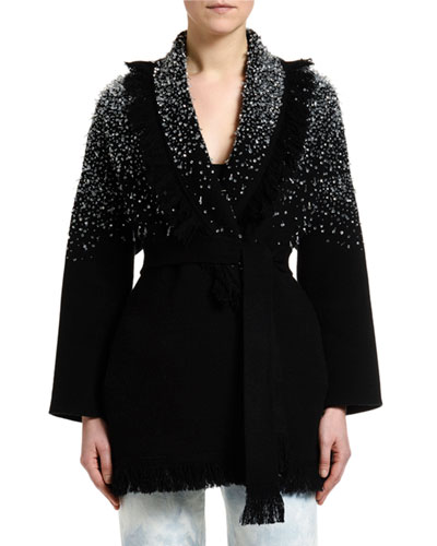 Hoarfrost Hand-Embroidered Crystal Cardigan