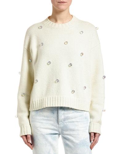 Below Zero Drop-Shoulder Studded Sweater
