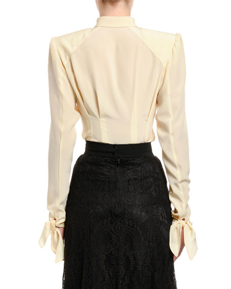 Dolce & Gabbana Long-Sleeve Button-Front Shirt with Padded Shoulders