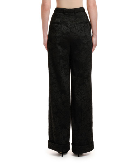 Image 2 of 3: Dolce & Gabbana Rose Stretch-Jacquard Wide-Leg Pants