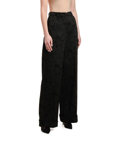 Image 3 of 3: Dolce & Gabbana Rose Stretch-Jacquard Wide-Leg Pants