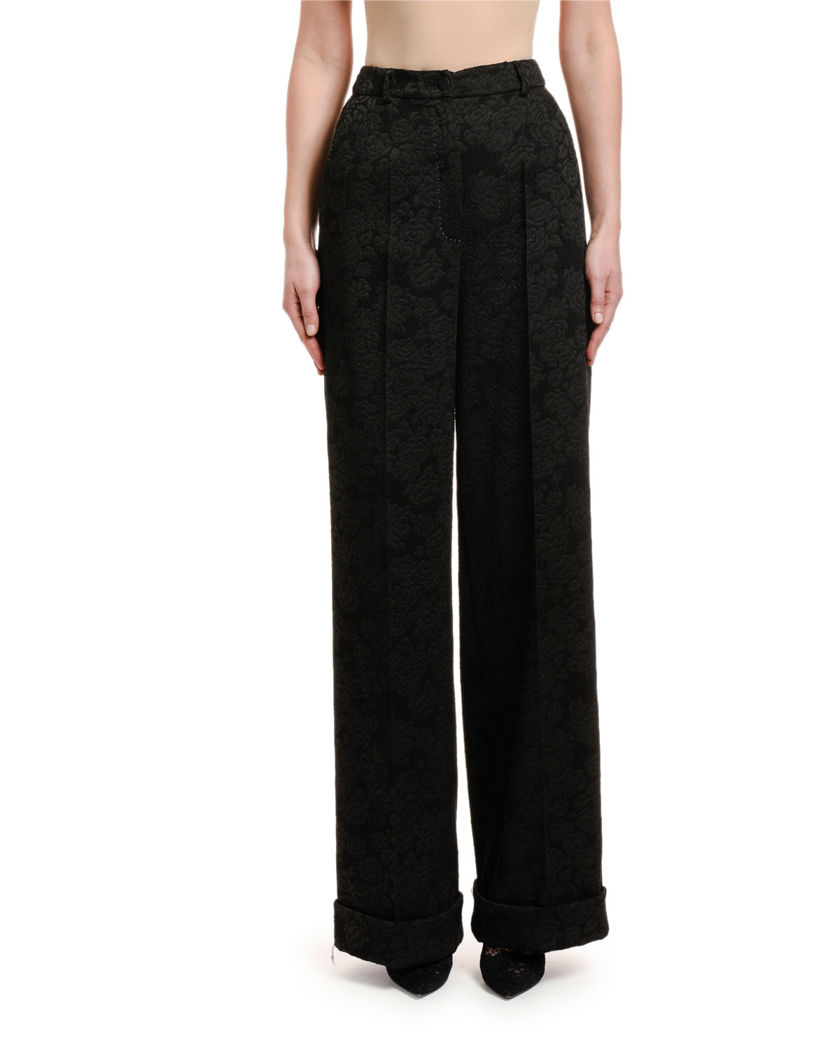 Dolce & Gabbana Rose Stretch-Jacquard Wide-Leg Pants