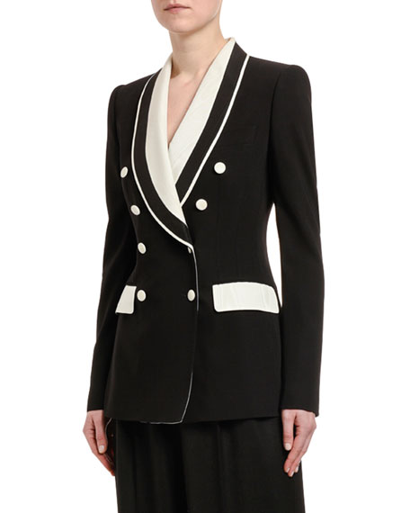 Dolce & Gabbana Double-Breasted Contrast Lapel Tuxedo Jacket