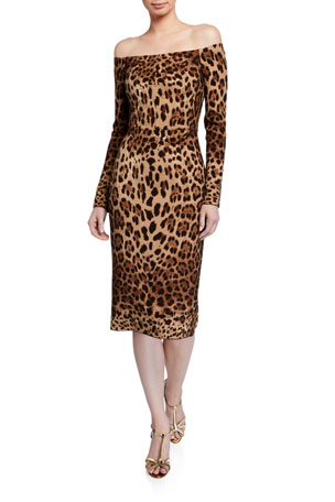 Dolce & Gabbana Off-the-Shoulder Leopard Print Bodycon Dress