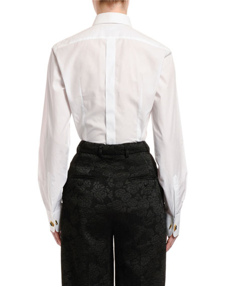 Dolce & Gabbana Long-Sleeve Cotton Poplin Jewel-Button Blouse
