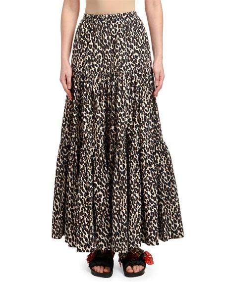 Double J Leopard-Print Tiered Cotton Skirt