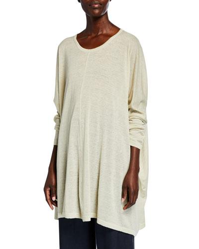 Linen-Cashmere Slim-Sleeve Sweater