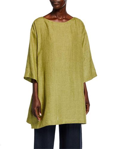 Linen 3/4-Sleeve Slim A-Line Tunic