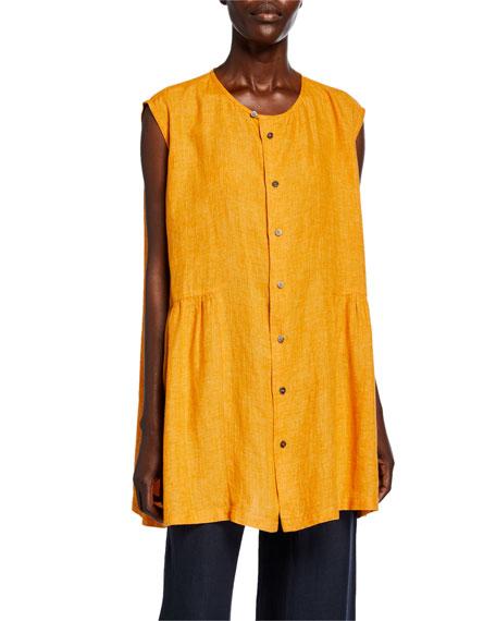 Eskandar Linen Button-Front Sleeveless Shirt