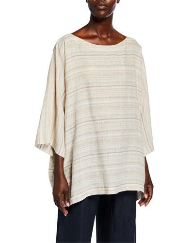3/4-Sleeve Striped Linen Tunic