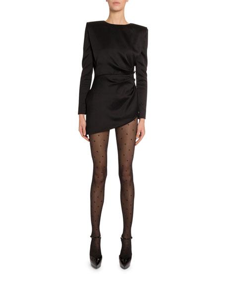 Saint Laurent Satin-Side Disco Button Dress