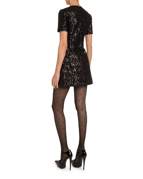 Saint Laurent Sequined Mini Shift Dress