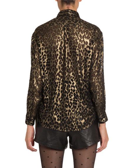 Saint Laurent Leopard-Print Velvet Classic Blouse
