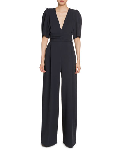 Puff-Sleeve V-Neck Jumpsuit