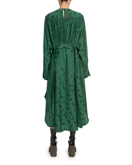Stella McCartney Draped Horse-Brocade Satin Dress