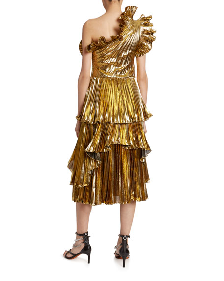 Altuzarra Metallic One-Shoulder Ruffled Dress