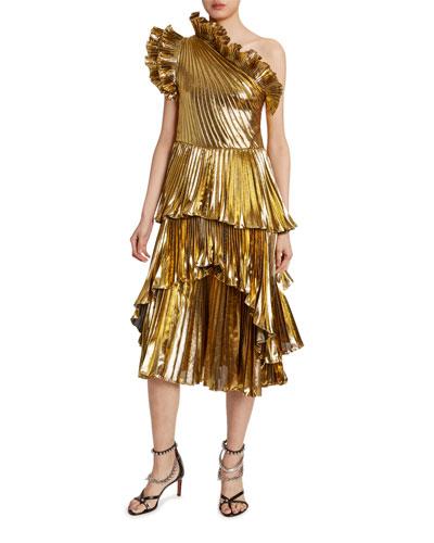Metallic One-Shoulder Ruffled Dress