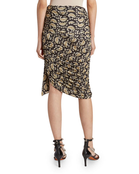 Altuzarra Paisley Draped Jersey Skirt