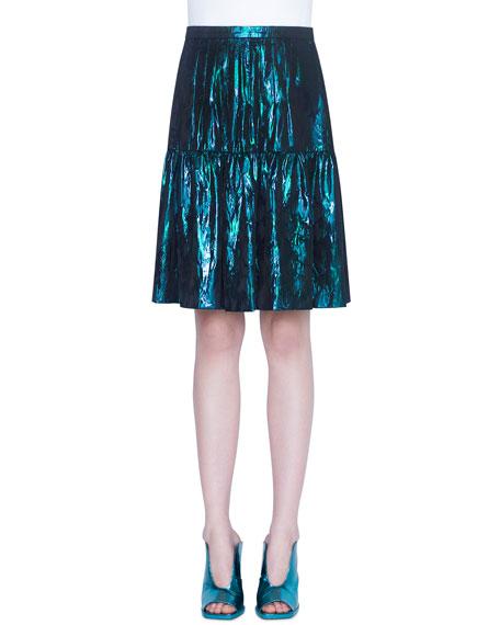 Akris punto Foiled Flounce-Hem Skirt