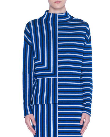 Akris punto Merino Knit Square-Jacquard Mock-Neck Sweater