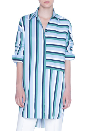 Akris punto Patchwork Striped 3/4-Sleeve Tunic Blouse
