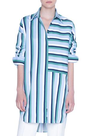 Akris punto Patchwork Striped 3/4-Sleeve Tunic Blouse