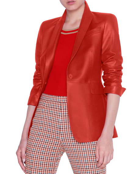 Akris punto Perforated Napa Leather Blazer