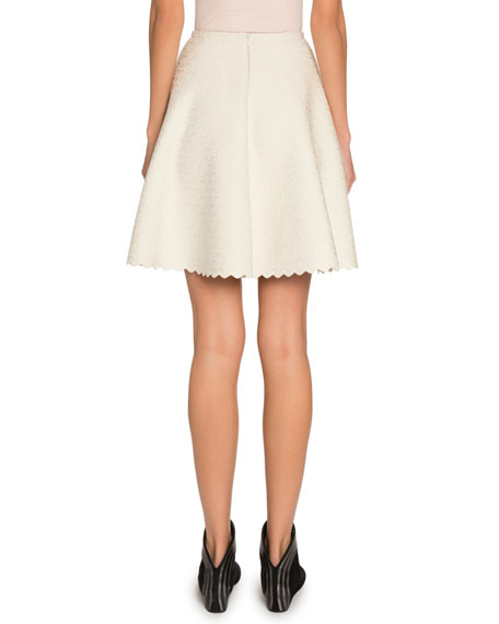 ALAIA Embossed Velvet Flare Mini Skirt