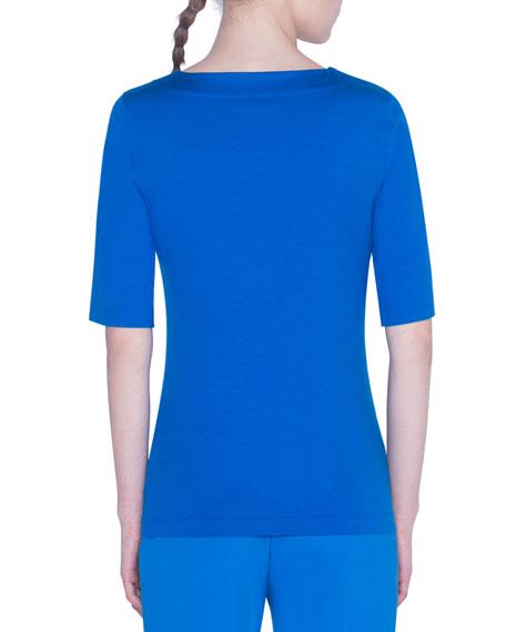 Akris punto Square-Neck Stretch-Cotton Jersey Top
