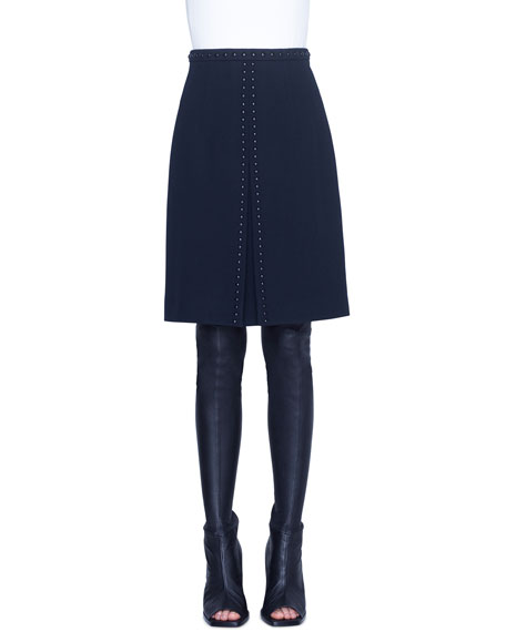 Akris punto Rivet-Trim Diagonal Knee-Length Skirt