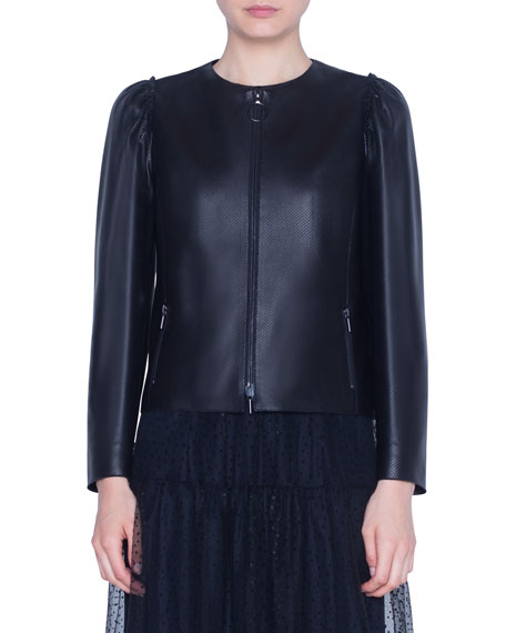 Akris punto Perforated Leather Zip-Front Jacket
