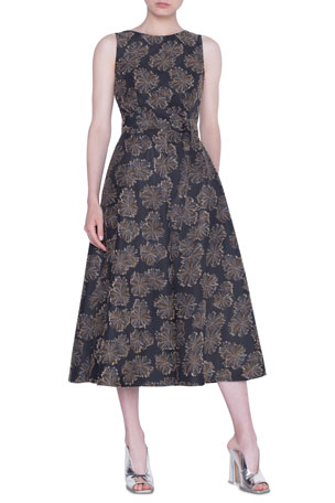 Akris punto Desert-Flower Jacquard Midi Dress