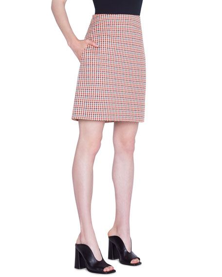 Akris punto Houndstooth Jacquard Cotton Skirt