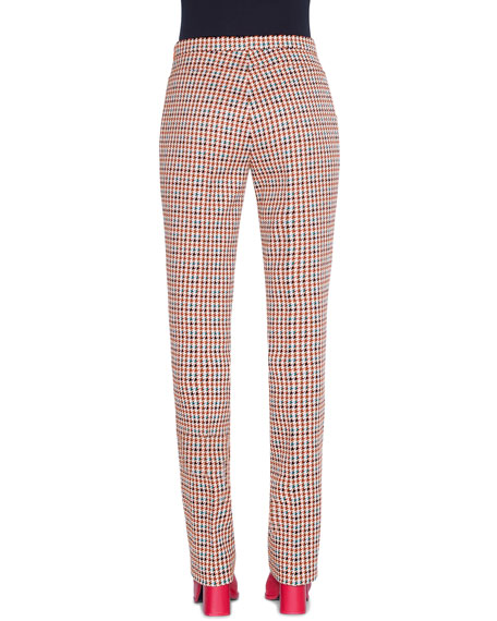 Akris punto Francoise Houndstooth-Jacquard Slim-Leg Pants