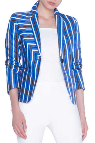 Akris punto Striped Gabardine Fitted Blazer