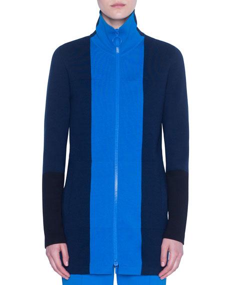 Akris punto Colorblocked Milano-Knit Zip-Front Cardigan