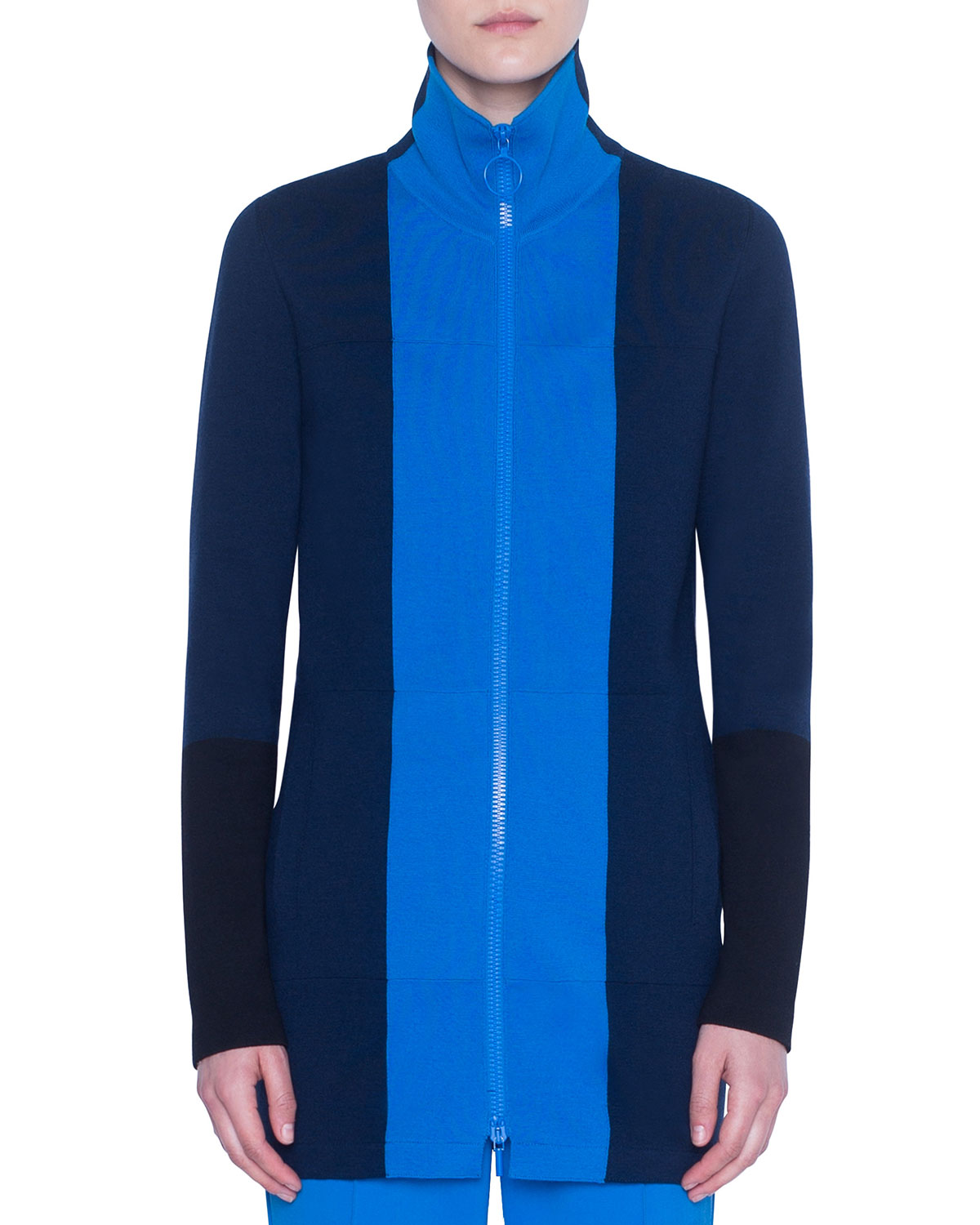 Akris punto Colorblocked Milano-Knit Zip-Front Cardigan