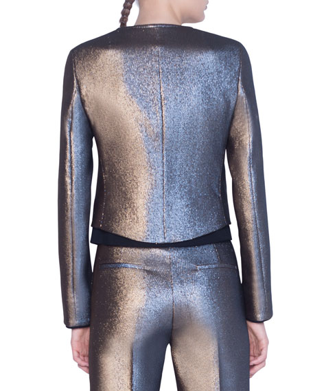 Image 2 of 2: Akris punto Iridescent Golden Zip-Front Jacket