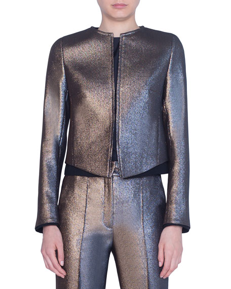 Image 1 of 2: Akris punto Iridescent Golden Zip-Front Jacket