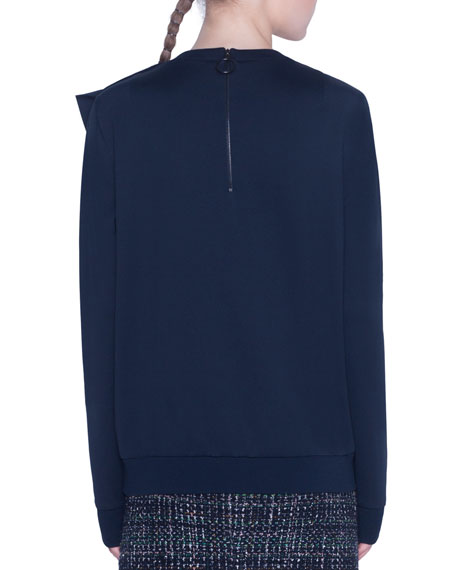 Akris punto Asymmetric Ruffled Neoprene Sweater
