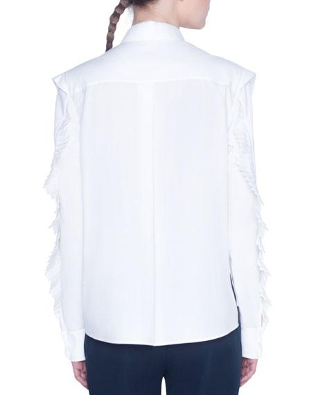 Akris punto Kent Collar Ruffled-Shoulder Poplin Blouse