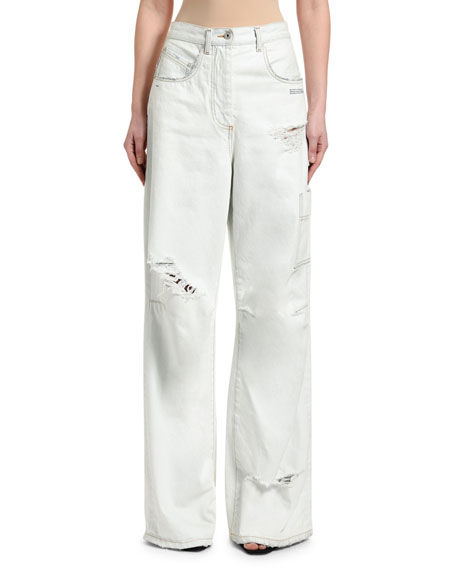Off-White High-Rise Oversize Ripped Tomboy Jeans